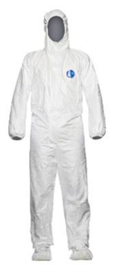 D-0033-L DuPont™ Tyvek® Labo Hooded coverall, with attached overshoes, Tyvek®, 41,5g/m², white, L, 1 pc/bag, 25 bags/box