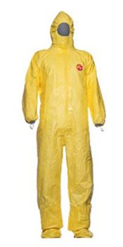 D-0100-XL DuPont™ Tychem® 2000C Hooded coverall with socks, Tychem®, 83g/m², yellow, XL, 1 pc/bag, 20 bags/box