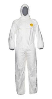 D-0110-L DuPont™ Tyvek® 200 Easysafe Hooded coverall, Tyvek®, white, L, 1 pc/bag, 100 bags/box