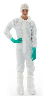 NS-0042-L BioClean-D™ Collared coverall, CleanTough™, white, L, double bagged, 1 pc/double bag, 20 double bags/box, sterile