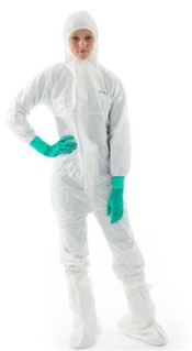 NS-0043-L BioClean-D™ Hooded coverall, CleanTough™, white, L, double bagged, 1 pc/double bag, 20 double bags/box, sterile
