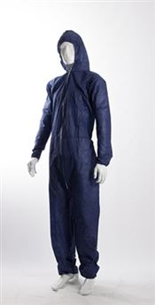 D-0069-BL DOTCH® PP-50 Hooded coverall with zipper, polypropylene, 50g/m², blue, L, 1 pc/bag, 25 bags/box