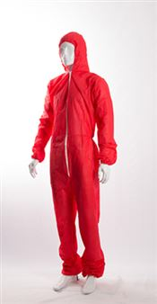 D-0069-RXL DOTCH® PP-50 Hooded coverall with zipper, polypropylene, 50g/m², red, XL, 1 pc/bag, 25 bags/box