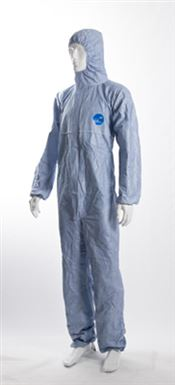 N-0009-BL DOTCH® Tyvek® Hooded coverall, Tyvek®, 41g/m², blue, L, double bagged, 1 pc/double bag, 25 double bags/box