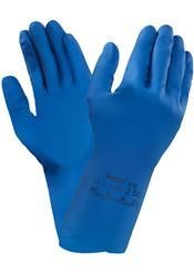 G-0061-758 AlphaTec® 87-195, latex, blue, 30,5cm, 7.5-8, double bagged, 1 pair/inner bag, 12 inner bags/outer bags, 12 outer bags/box