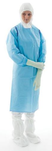 D-0008-L BioClean-C™ Chemotherapy Protective Apron with Sleeves, BioClean-C™™ CleanTough™, blue, L, double bagged, 1 pc/double bag, 40 double bags/box