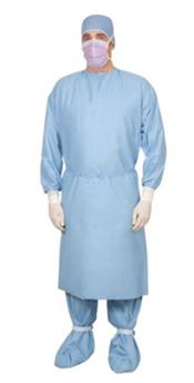 D-0025-L Prevention Plus Procedure Gown, Prevention Plus, 78g/m², blue, 114x142cm, L, 10 pcs/bag, 3 bags/box