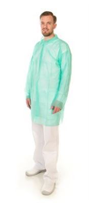 D-0120-G2XL CMT® PP non-woven visitor coat with velcro, polypropylene, 30g/m², green, 2XL, 1 pc/bag, 100 bags/box